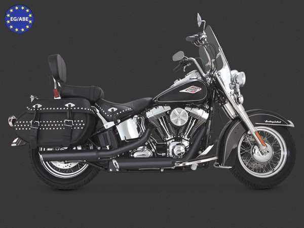 "Bild von V & H Twin Slash 3 1/4"" Slip On Schwarz / Softail ab 07 / EC/ABE"